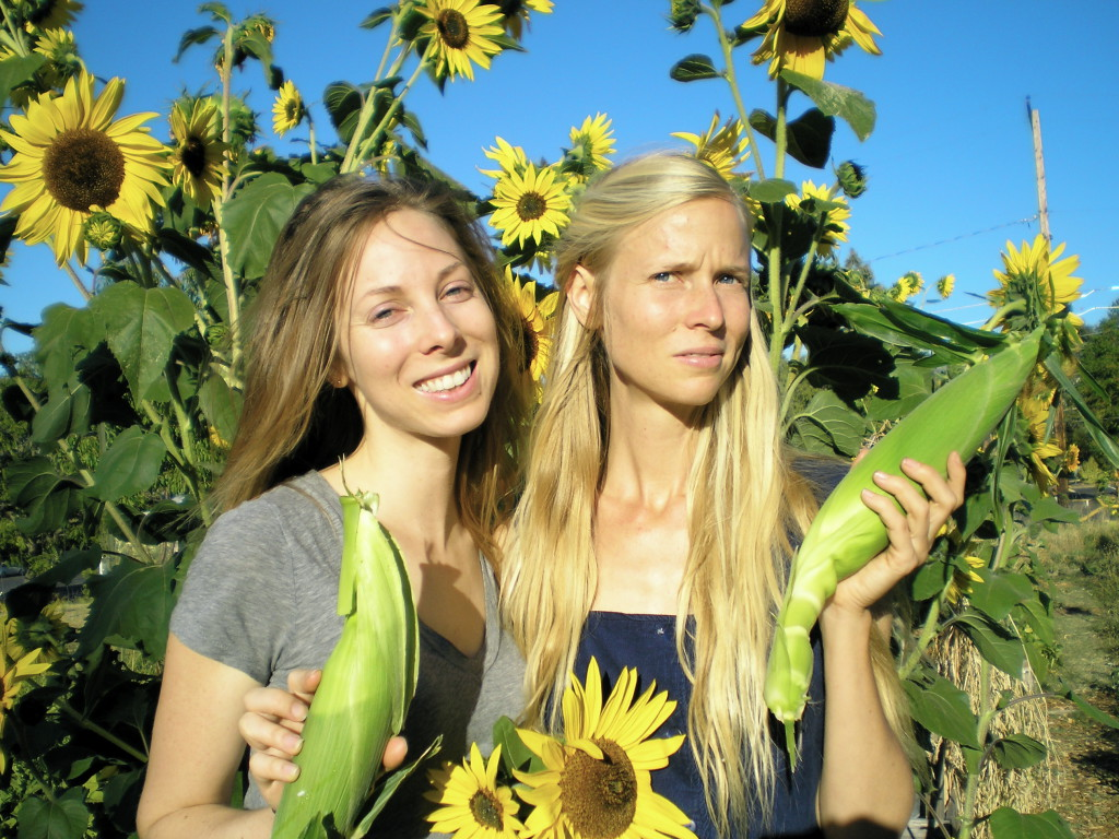 First corn harvest from J and my garden, my sister Bethany and I, Summer 2015. The sun was very bright!