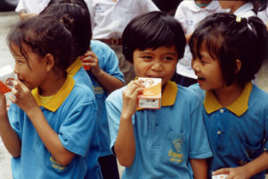 School milk program in Indonesia funded by Swiss-Swedish multinational Tetra Pak.
